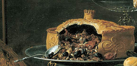 Pies were a common way of preparing meat in Medieval times. (Detail from a still life by Adriaen van Utrecht)