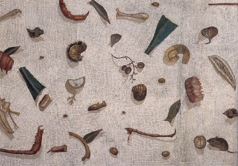 The asaroton (=unswept) motive depicts a floor covered in the leftovers of a feast. This specific one from the 2nd century AD can be found in the Musei Vaticani.