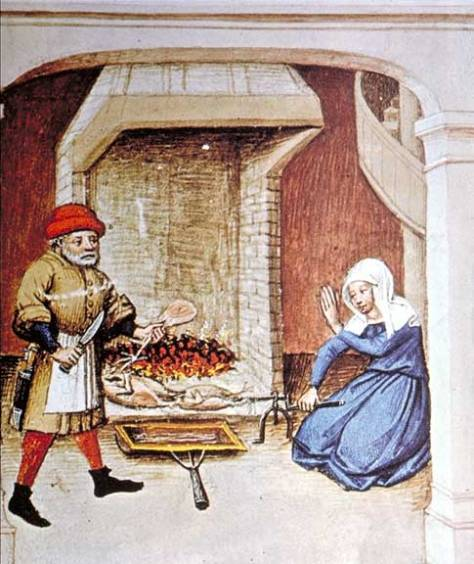 Cooking on a spit. Illustration from an edition of The Decameron, Flanders, 1432.