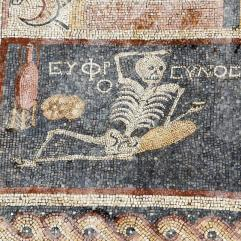 "This mosaic found in Hatay, Turkey, reads ""be cheerful, enjoy your life"". It belonged to the floor decoration inside the dining room of a house from the 3rd century BC."
