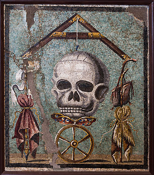 Another Roman mosaic from Pompeii, representing the Wheel of Fortune with death looming over it and life hanging by a thread (Memento mori). 1st century BC, Museo Archeologico Nazionale di Napoli.