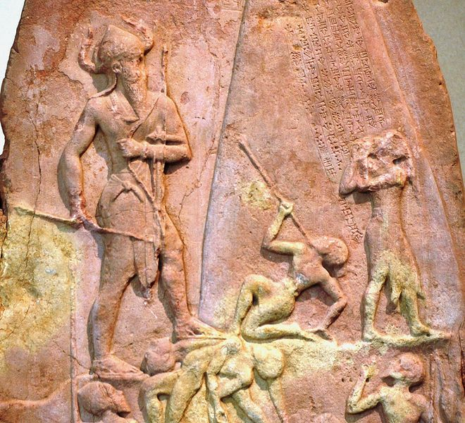 Stele of Narâm-Sîn, king of Akkad, celebrating his victory against the Lullubi from Zagros. Limestone, c. 2250 BCE. Brought from Sippar to Susa among other spoils of war in the 12th ce