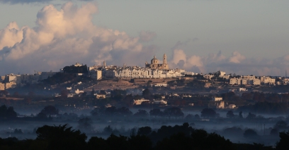 The Valle d'Itria and Locorotondo seen from Martina Franca. Photo: Manoocher Deghati